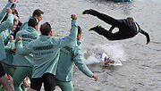 Putney - Chiswick, London,  Great Britain.<br /> OUWBC Cox landed in the water while CUBC cox is in mid flight, 2016 University Boat Race, Oxford vs Cambridge, Putney. Putney  to Mortlake, Championship Course. River Thames.<br /> <br /> Sunday  27/03/2016 <br /> <br /> [Mandatory Credit; Peter SPURRIER/Intersport-images]