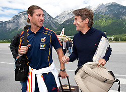 28.05.2010, Flughafen, Innsbruck, AUT, FIFA Worldcup Vorbereitung, Ankunft Spanien, im Bild Sergio Ramos, EXPA Pictures © 2010, PhotoCredit: EXPA/ J. Groder / SPORTIDA PHOTO AGENCY