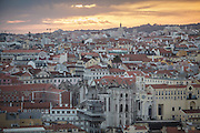Lisbon's view at sunset from Saint George Castle.
