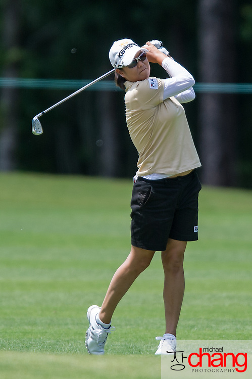 April 27 2012: South Korean, Hee-Won Han hits her approach shot n the 18th hole during the Mobile Bay LPGA Classic at Magnolia Grove in Mobile, AL.