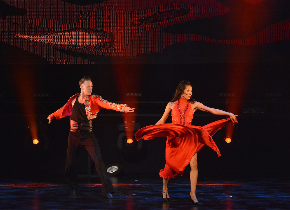 Kevin Clifton  and Karen Hauer,in action , during a performance of Flashmob <br /> at the Peacock Theatre London <br /> Picture Dave Nelson