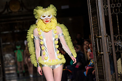 Models on the catwalk during the Pam Hogg London Fashion Week SS18 show held at Freemason's Hall, London. Picture date: Friday September 16th, 2017. Photo credit should read: Matt Crossick/ EMPICS Entertainment.