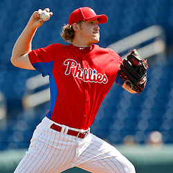 February 24, 2011; Clearwater, FL, USA; Philadelphia Phillies starting pitcher Drew Naylor (64) during a spring training exhibition game against the Florida State Seminoles at Bright House Networks Field. Mandatory Credit: Derick E. Hingle