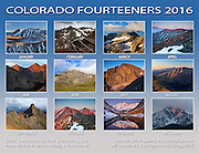 2016 Colorado Fourteeners Calendar back page