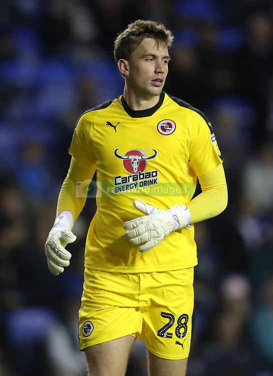 """Reading goalkeeper Sam Walker during the Sky Bet Championship match between Reading and Queens Park Rangers. PRESS ASSOCIATION Photo. Picture date:  Tuesday October 2, 2018. See PA story SOCCER Reading. Photo credit should read: Andrew Matthews/PA Wire. RESTRICTIONS: EDITORIAL USE ONLY No use with unauthorised audio, video, data, fixture lists, club/league logos or """"live"""" services. Online in-match use limited to 120 images, no video emulation. No use in betting, games or single club/league/player publications"""