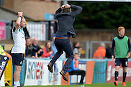 Gareth Ainsworth, the Wycombe Wanderers manager jumps out of anger on the touchline. Skybet football league two match, Wycombe Wanderers v Hartlepool Utd at Adams Park in High Wycombe, Bucks on Saturday 5th Sept 2015.<br /> pic by John Patrick Fletcher, Andrew Orchard sports photography.