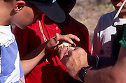 Dan Chiaravalli comes face-to-face with a horned lizard, Chiricahua Mountains, Arizona..Media Usage:.Subject photograph(s) are copyrighted Edward McCain. All rights are reserved except those specifically granted by McCain Photography in writing...McCain Photography.211 S 4th Avenue.Tucson, AZ 85701-2103.(520) 623-1998.mobile: (520) 990-0999.fax: (520) 623-1190.http://www.mccainphoto.com.edward@mccainphoto.com.