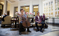 Found and Lost <br /> by Emily Hall at The Corinthia Hotel, London, Great Britain <br /> press photocall <br /> 26th January 2016 <br /> <br /> Oliver Coates - Cellist <br /> <br /> James McVinnie as Organist / Guide <br /> <br /> Nancy Cole <br /> Harriet Hougham-Slade <br /> <br /> Rebekah Jones<br /> <br /> Hugh Benson <br /> <br /> Josh Cooter<br /> <br /> Chris Fitzgerald Lomard<br /> <br /> Patrick Allies<br /> <br /> Ben McKee<br /> <br /> Ben Rowarth <br /> <br /> <br /> <br /> Photograph by Elliott Franks <br /> Image licensed to Elliott Franks Photography Services