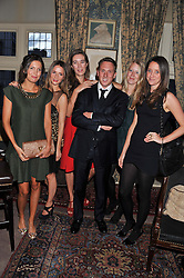 Left to right, AMANDA FERRY, AMANDA CROSSLEY, SOPHIA ROGGE, HARRY BECHER, ALICE ROTHSCHILD and INDIA LANGTON at a dinner hosted by Edward Taylor and Alexandra Meyers in association with Johnnie Walker Blue Label held at Mark's Club, 46 Charles Street, London W1 on 26th April 2012.