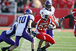 29 September 2007: Geno Blow is confronted by Clifford Waters and Chris Parsons.  In action between the Northern Iowa Panthers and the Illinois State Redbirds, the Panthers chewed up the Redbirds by a score of 23 - 13. Game action commenced at Hancock Stadium on the campus of Illinois State University in Normal Illinois..