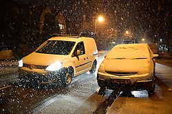 "© Licensed to London News Pictures. 12/01/2017. Luton, UK. Snow falls on in Luton, for the first time this winter, on January 12, 2017. Weather warnings are in place across the UK as a ""polar maritime airmass"" from northern Canada spreads across the country, bringing snow, ice, rain and freezing temperatures. Photo credit: Ben Cawthra/LNP"