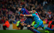Gerard Piqué of FC Barcelona scores a goal in front Dimitrievski goalkeeper of Rayo Vallecano during the Spanish league football match of 'La Liga'  FC BARCELONA against RAYO VALLECANO at Camp Nou Stadium of Barcelona on March 9,2019