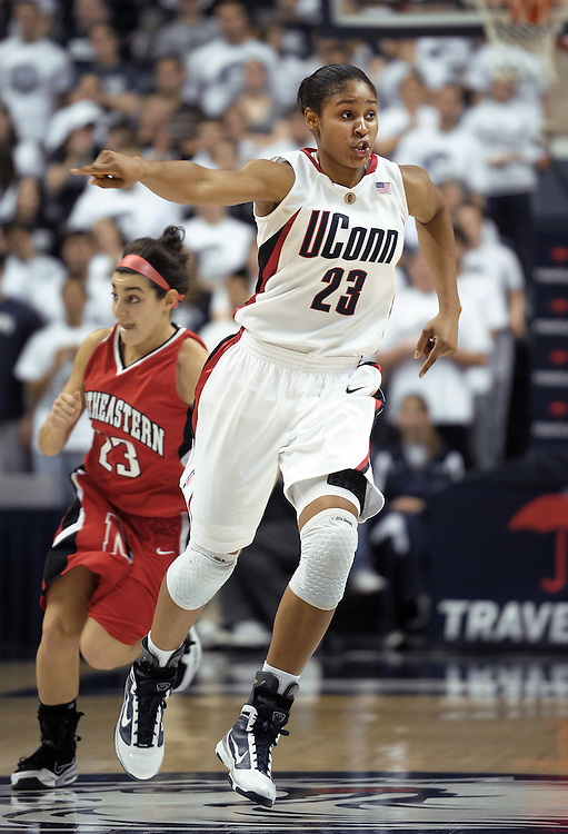 Connecticut's Maya Moore during the second half of an NCAA women's college basketball game against Northeastern in Storrs, Conn., Saturday, Nov. 14, 2009.  (AP Photo/Jessica Hill)