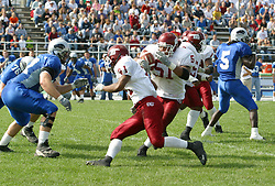 12 October 2002:  Justen Rivers cuts back against the movement to progress up the field. Eastern Illinois University Panthers host and defeat the Colonels of Eastern Kentucky during EIU's Homecoming at Charleston Illinois.