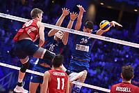 David Smith of USA, Drazen Luburic and Srecko Lisinac of Serbia.<br /> Torino 30-09-2018 Pala Alpitour <br /> FIVB Volleyball Men's World Championship <br /> Pallavolo Campionati del Mondo Uomini <br /> Finals / 3th place<br /> Serbia - USA  <br /> Foto Antonietta Baldassarre / Insidefoto