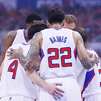 21 April 2014: Los Angeles Clippers players gather during the Los Angeles Clippers 138-98 victory over the Golden State Warriors, during Game Two of the Western Conference Quarterfinals of the NBA Playoffs, at the Staples Center, Los Angeles, California, USA.
