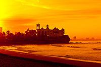 Beach at the Playa Mazatlan Hotel at sunrise,(Valentino's Night Club in background), Mazatlan, Sinaloa, Mexico