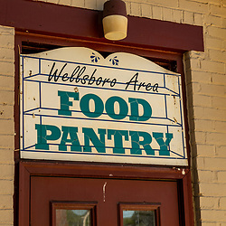 Wellsboro, PA - July 26, 2016:  A Food Pantry Sign in Wellsboro Pennsylvania.
