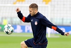 September 26, 2017 - Turin, Piedmont, Italy - Kostas Fortunis (Olympiakos FC)The players of Olympiakos FC during the training on the eve of  the UEFA Champions League (Group D) match between Juventus FC and Olympiakos FC  at Allianz Stadium on 26 September, 2017 in Turin, Italy. (Credit Image: © Massimiliano Ferraro/NurPhoto via ZUMA Press)