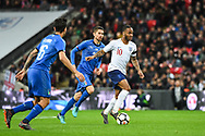 England Midfielder Raheem Sterling (10) in action during the Friendly match between England and Italy at Wembley Stadium, London, England on 27 March 2018. Picture by Stephen Wright.