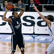 Anadolu Efes's Terence Kinsey (L) during their Euroleague Top 16 basketball match Anadolu Efes between CSKA Moscow at the Abdi Ipekci Arena in Istanbul at Turkey on Thursday, March, 01, 2012. Photo by TURKPIX