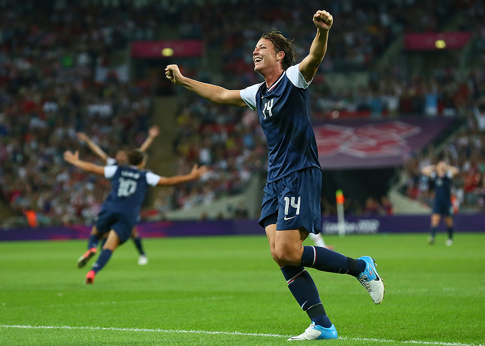 USA's Abby Wambach celebrates the goal of USA's Carli Lloyd during the Women's Football gold medal match