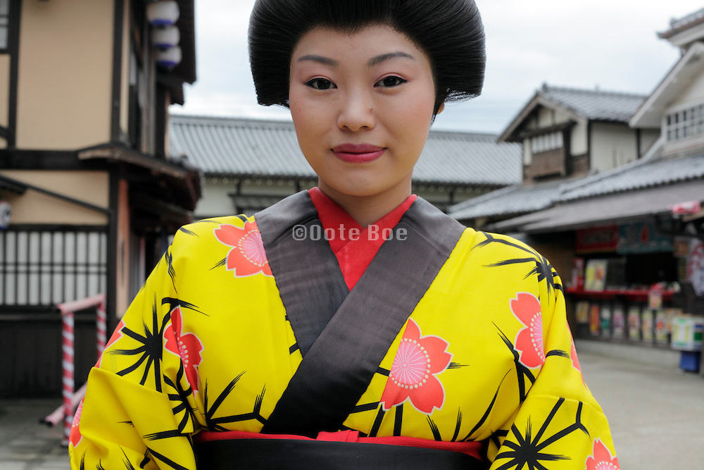 young Japanese woman made up in traditional Edo period