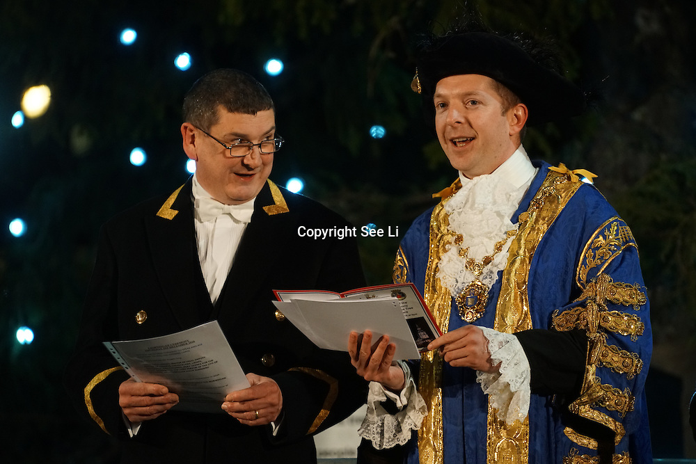 CouncillorSteve Summers, Lord Mayor of Westminster attends The Christmas tree in Trafalgar Square is illuminated after the annual lights switch-on in London, December 1, 2016. The tree has been a gift since 1947 from the people of Norway in recognition of Britain's support during World War II, London,UK. Photo by See Li