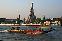 Bangkok Water Taxi - In Bangkok, the Chao Phraya is a major transportation artery for a vast network of ferries and water taxis, also known as longtails. More than 15 boat lines operate on the river and canals of the city, including commuter ferry lines.