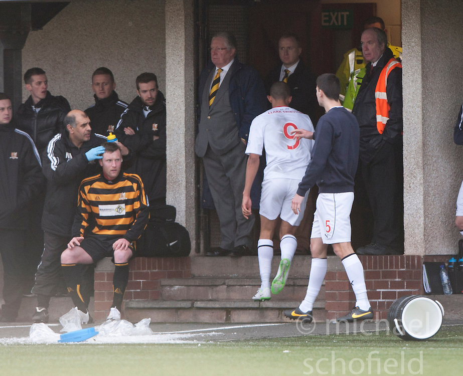 Falkirk's Phil Roberts throws some water after a second yellow card from ref George Salmond.<br /> Alloa Athletic 3 v 0 Falkirk, Scottish Championship game played today at Alloa Athletic's home ground, Recreation Park.<br /> © Michael Schofield.