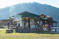 Peaks and Perks Coffee cart in Stanley, Idaho.