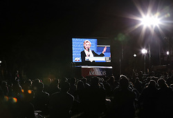 ST. LOUIS, Oct. 10, 2016 (Xinhua) -- People watch live broadcast of the 2016 presidential debate at Washington University in St. Louis, Missouri, the United States, Oct. 9, 2016. The second of three U.S. presidential debates between the Democratic and Republican nominees Hillary Clinton and Donald Trump was held in Washington University on Sunday. (Xinhua/Wang Ying) (wtc) (Credit Image: © Wang Ying/Xinhua via ZUMA Wire)