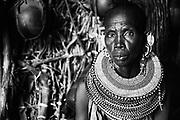 A black and white portrait of an El Molo tribe women wearing beaded necklaces,black and white, Lake Turkana, Loiyangalani,Kenya, Africa