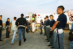 Italy, Rome - October 7, 2018.'We close the airports to stop Migrants coming from Germany' so the Italian Interior Minister Matteo Salvini.Archive file of Albanian migrants boarding a plane at Linate airport / Milan (Credit Image: © Lioy/Fotogramma/Ropi via ZUMA Press)