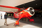 1936 Stinson SR-8B Reliant being put away at WAAAM.