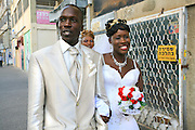 Wedding of Refugees who escaped separately from Sudan and reunited in Israel, takes place in a church in South Tel Aviv.The wedding procession on route to church