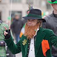 Reveller dressed as an irish leprechaun participates in a Saint Patrick's day celebration march in Budapest, Hungary on March 17, 2013. ATTILA VOLGYI