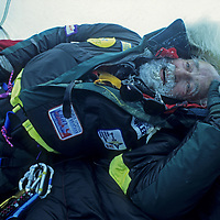 88-year old Norman Vaughan exhausted after first ascent of an Antarctic mountain named after him (Mount Vaughan.)