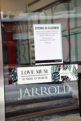 Snow, Norwich Feb 2018 UK. Jarrolds store closed due to the weather