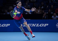 Tennis - 2019 Nitto ATP Finals at The O2 - Day Two<br /> <br /> Doubles Group Max Mirnyi: Juan Sebastien Cabal (COL) & Robert Farah (CAN) Vs. Pierre-Hugues Herbert (FRA) & Nicolas Mahut (FRA) <br /> <br /> Pierre-Hugues Herbert (FRA) with a forehand return of serve <br /> <br /> COLORSPORT/DANIEL BEARHAM