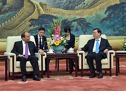 BEIJING, Sept. 12, 2016 (Xinhua) -- Zhang Dejiang (R), chairman of the Standing Committee of China's National People's Congress (NPC), meets with Vietnamese Prime Minister Nguyen Xuan Phuc in Beijing, capital of China, Sept. 12, 2016.  (Xinhua/Li Tao) (wyo) (Credit Image: © Li Tao/Xinhua via ZUMA Wire)