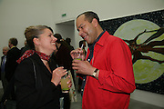 ELLA SYMM AND RICHARD DYER, private view  of new exhibition by Tim Stoner , Alison Jacques Gallery in new premises in Berners St., London, W1 ,Afterwards across the rd. at the Sanderson Hotel. 3 May 2007. DO NOT ARCHIVE-© Copyright Photograph by Dafydd Jones. 248 Clapham Rd. London SW9 0PZ. Tel 0207 820 0771. www.dafjones.com.