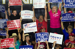Oct 1, 2018 - Johnson City, Tennessee, U.S. - Attendees display signs at President Donald J. Trump's Make America Great Again Rally in the Freedom Hall , Johnson City, Tennessee on Monday evening, October 1, 2018. (Credit Image: © Michael McCollum/ZUMA Wire)
