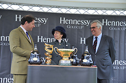 Left to right, JO THORNTON MD Mooet Hennessy UK, HRH the PRINCESS ROYAL and MAURICE HENNESSYat the Hennessy Gold Cup at Newbury Racecourse, Berkshire on 26th November 2011.