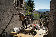 An heldery man tryies to reach his home in Saletta few kilometers from Amatrice. A 6,4 earthquake has hit central Italy during the night between the 23 and 24 August killing more than 100. The town of Amatrice is been heavily damaged.