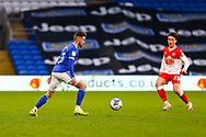 Cardiff City's Joe Bennett (3) under pressure from Millwall's Billy Mitchell (23) during the EFL Sky Bet Championship match between Cardiff City and Millwall at the Cardiff City Stadium, Cardiff, Wales on 30 January 2021.