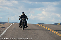 "Andreas ""Andy"" Kaindl of Southern Germany riding his 1924 Henderson Deluxe during Stage 13 (257 miles) of the Motorcycle Cannonball Cross-Country Endurance Run, which on this day ran from Elko, NV to Meridian, Idaho, USA. Thursday, September 18, 2014.  Photography ©2014 Michael Lichter."