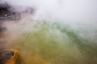 """Oniyama Jigoku - The hells or jigoku of Beppu are eight spectacular hot springs for viewing rather than bathing in - which would be rather dangerous as temperatures can go up beyond 60C.  Most of the hells are presented to visitors in a touristy fashion,  that is """"extra"""" attractions such as piranhas.  Oniyama features  crocodiles."""