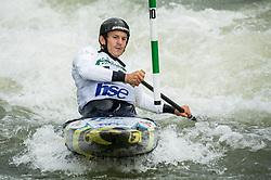 Anze Bercic of Slovenia competes during Canoe Single (C1) Men Final race of 2018 ICF Canoe Slalom World Cup 4, on September 1, 2018 in Tacen, Ljubljana, Slovenia. Photo by Vid Ponikvar / Sportida