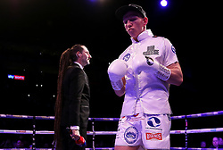 Ted Cheeseman enters the ring ahead of the European Super-Welterweight Championship contest at The O2 Arena, London.